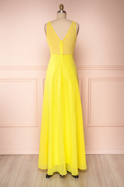 Esther Yellow Maxi Prom Dress with Slit | Boutique 1861 back view