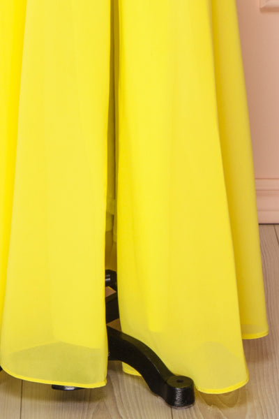 Esther Yellow Maxi Prom Dress with Slit | Boutique 1861 bottom