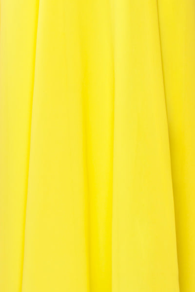 Esther Yellow Maxi Prom Dress with Slit | Boutique 1861 fabric