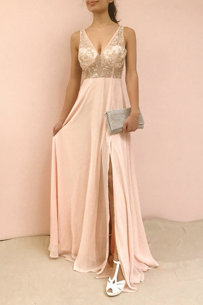 Esther Taupe Maxi Prom Dress with Slit | Boutique 1861 on model
