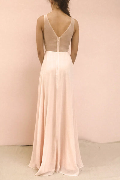 Esther Blush Pink Maxi Prom Dress with Slit | Boutique 1861 model back