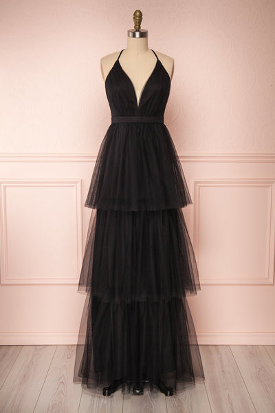 Estivam Black Layered Tulle Maxi Prom Dress | Boutique 1861