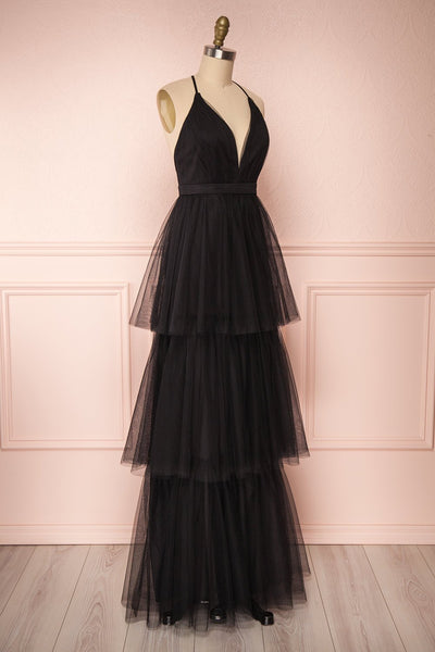 Estivam Black Layered Tulle Maxi Prom Dress side view | Boutique 1861