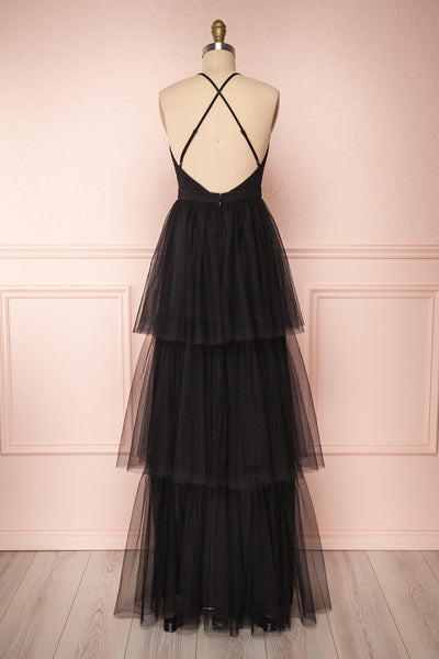 Estivam Black Layered Tulle Maxi Prom Dress back view | Boutique 1861