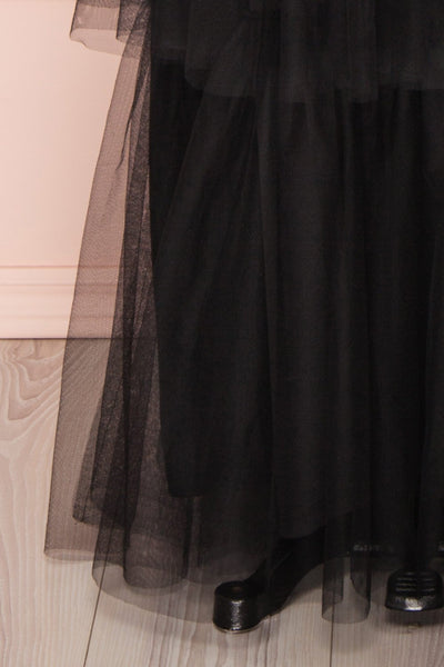 Estivam Black Layered Tulle Maxi Prom Dress skirt | Boutique 1861