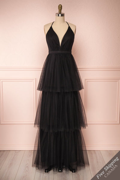 Estivam Black Layered Tulle Maxi Prom Dress front view FS | Boutique 1861