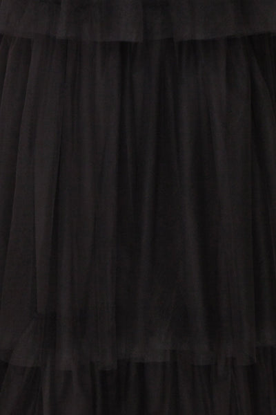 Estivam Black Layered Tulle Maxi Prom Dress fabric | Boutique 1861
