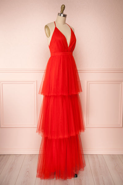 Estivam Red Layered Tulle Maxi Prom Dress side view | Boutique 1861