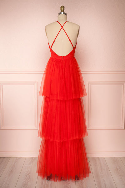 Estivam Red Layered Tulle Maxi Prom Dress back view | Boutique 1861