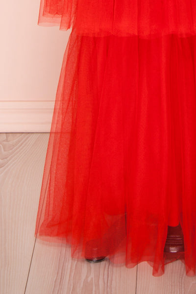 Estivam Red Layered Tulle Maxi Prom Dress skirt | Boutique 1861