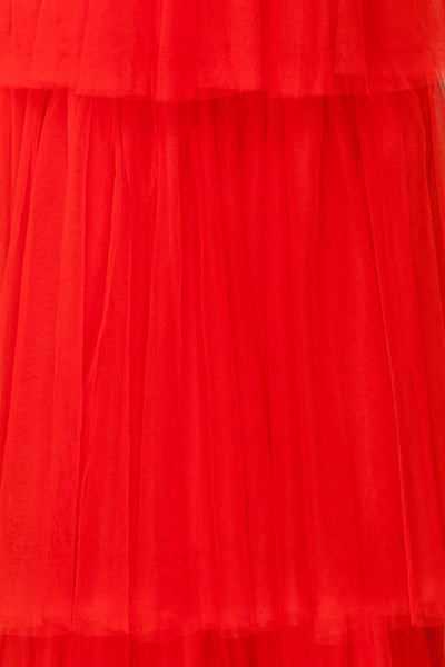 Estivam Red Layered Tulle Maxi Prom Dress fabric | Boutique 1861