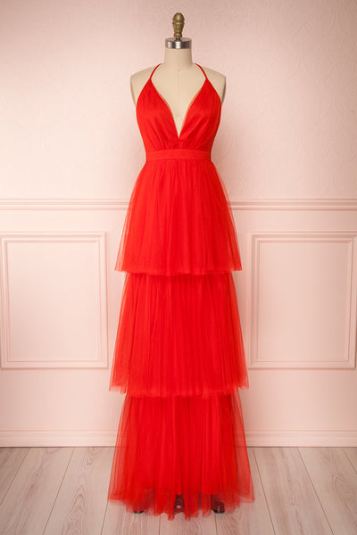Estivam Red Layered Tulle Maxi Prom Dress | Boutique 1861