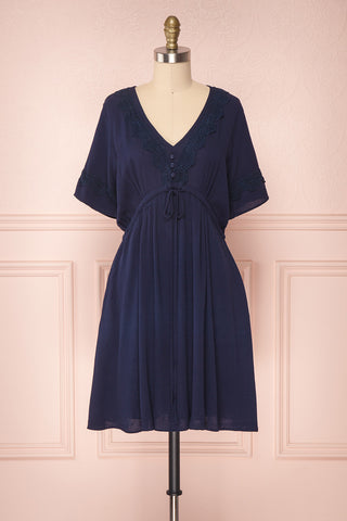 Etara Navy Blue Short A-Line Dress with Crocheted Lace | Boutique 1861