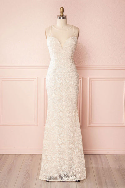 Etita Cream Embroidered Mermaid Gown front view | Boudoir 1861