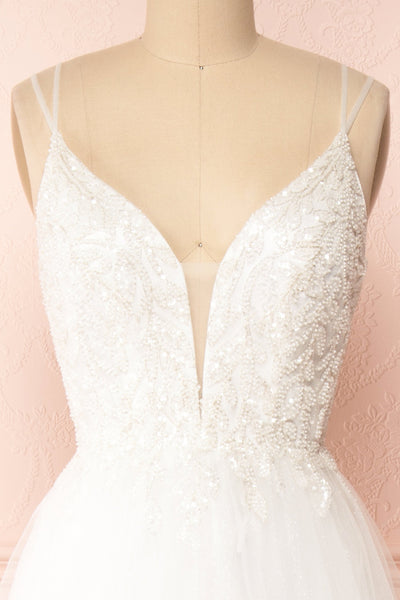 Eugeny White Beaded A-Line Bridal Dress | Boudoir 1861 front close-up