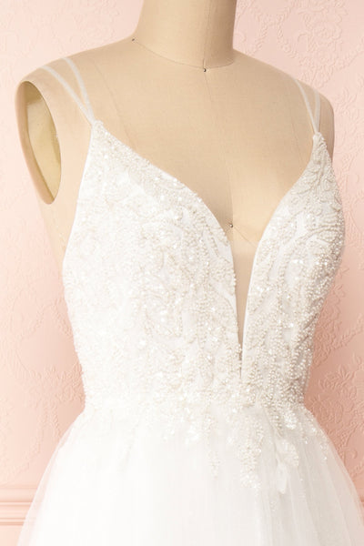 Eugeny White Beaded A-Line Bridal Dress | Boudoir 1861 side close-up