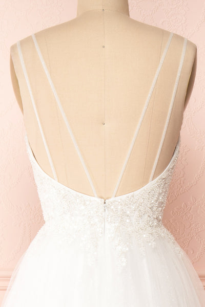 Eugeny White Beaded A-Line Bridal Dress | Boudoir 1861 back close-up