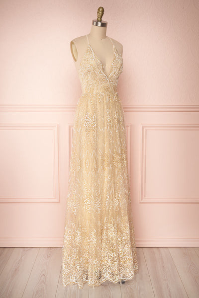 Eunmi Ivory Beige & Gold Glitter Mesh Maxi Dress | Boutique 1861 3