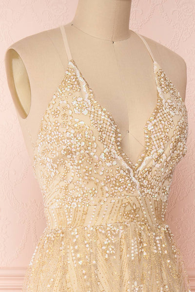 Eunmi Ivory Beige & Gold Glitter Mesh Maxi Dress | Boutique 1861 4