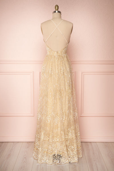 Eunmi Ivory Beige & Gold Glitter Mesh Maxi Dress | Boutique 1861 5