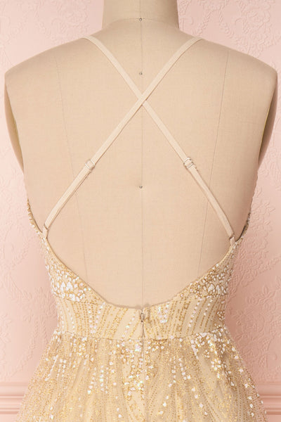 Eunmi Ivory Beige & Gold Glitter Mesh Maxi Dress | Boutique 1861 6