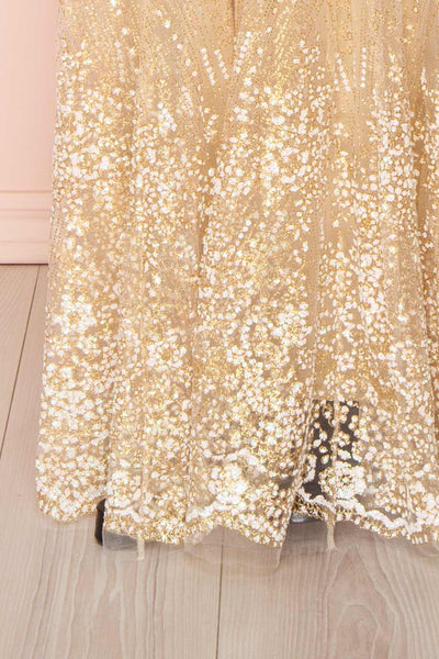 Eunmi Ivory Beige & Gold Glitter Mesh Maxi Dress | Boutique 1861 7