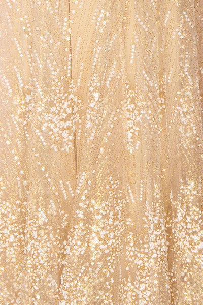 Eunmi Ivory Beige & Gold Glitter Mesh Maxi Dress | Boutique 1861 8