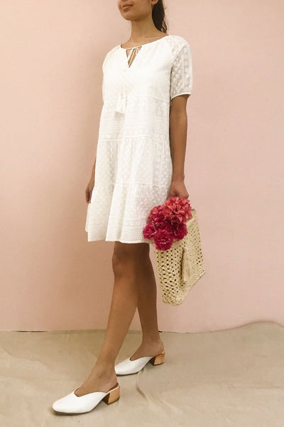 Eunyce White A-Line Dress w/ Embroidery | Boutique 1861 model look