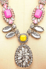 Euphrasia - Pink, yellow and clear crystals necklace