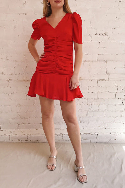Eustacia Red Ruched Drop Waist Dress | Boutique 1861 model look