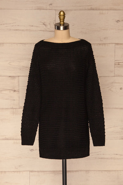 Eutin Black Long Sleeve Knit Sweater | La petite garçonne front view