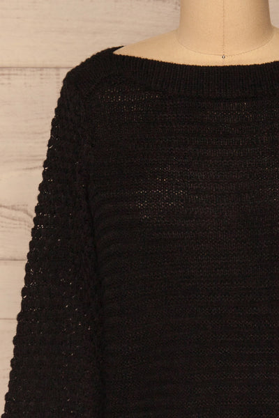 Eutin Black Long Sleeve Knit Sweater | La petite garçonne front close-up
