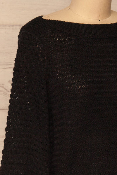 Eutin Black Long Sleeve Knit Sweater | La petite garçonne side close-up