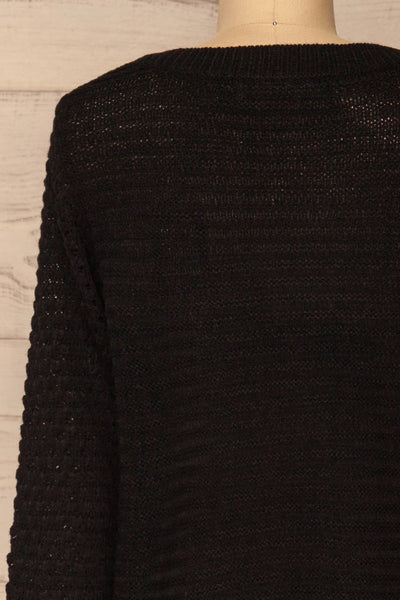 Eutin Black Long Sleeve Knit Sweater | La petite garçonne back close-up