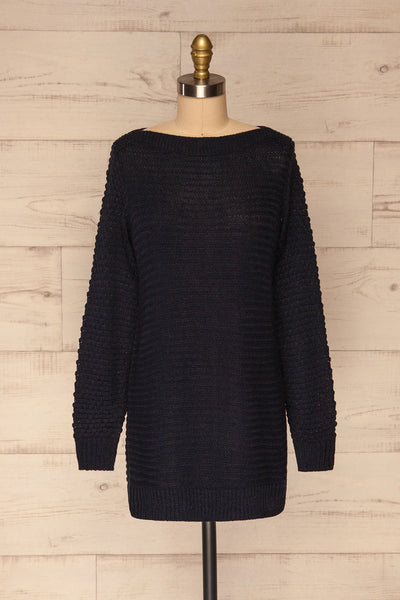 Eutin Navy Blue Long Sleeve Knit Sweater | La petite garçonne front view