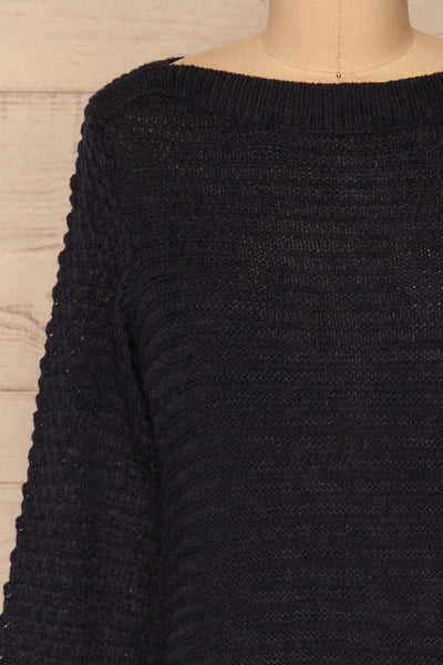 Eutin Navy Blue Long Sleeve Knit Sweater | La petite garçonne front close-up