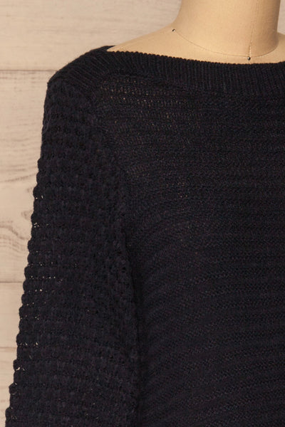 Eutin Navy Blue Long Sleeve Knit Sweater | La petite garçonne side close-up
