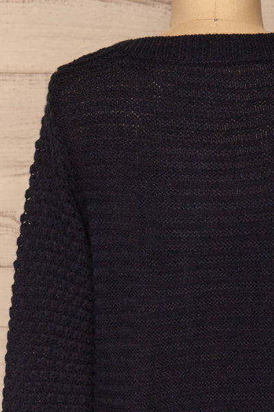 Eutin Navy Blue Long Sleeve Knit Sweater | La petite garçonne back close-up