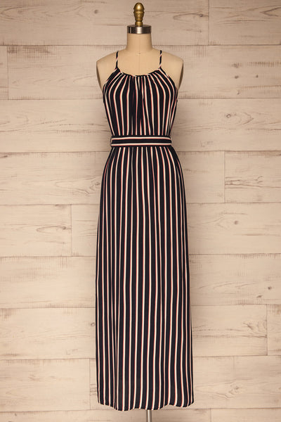 Evenes Navy Blue Striped Maxi Dress | La petite garçonne front view