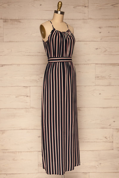Evenes Navy Blue Striped Maxi Dress | La petite garçonne side view