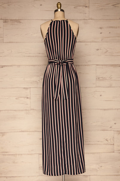 Evenes Navy Blue Striped Maxi Dress | La petite garçonne back view