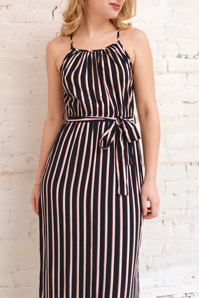 Evenes Navy Blue Striped Maxi Dress | La petite garçonne on model