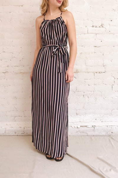 Evenes Navy Blue Striped Maxi Dress | La petite garçonne model look