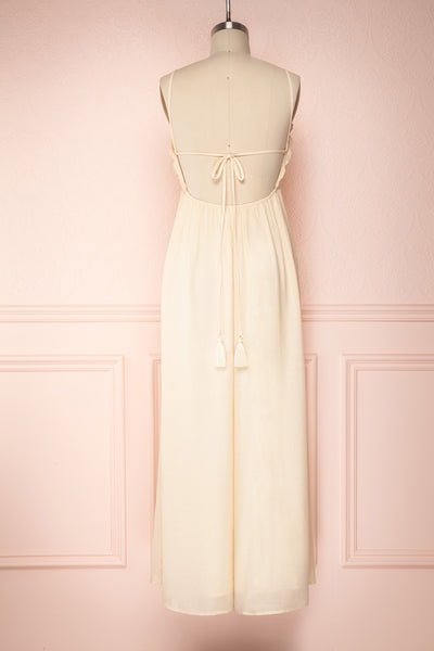 Evette Beige Wide Leg Jumpsuit w/ Pockets | Boutique 1861 back view