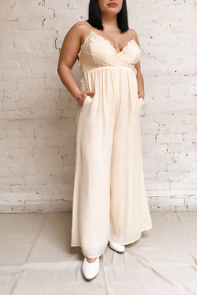 Evette Beige Wide Leg Jumpsuit w/ Pockets | Boutique 1861 model look