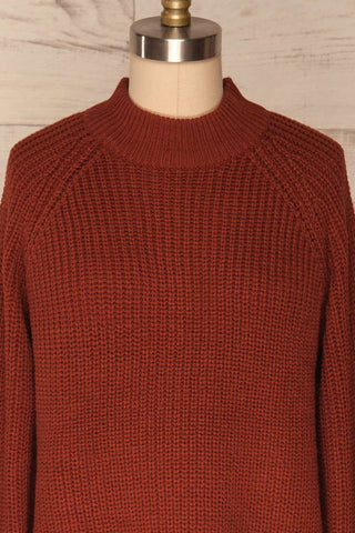 Evora Brick Red Boxy Knit Sweater w/ Slits |FRONT CLOSE UP | La Petite Garçonne