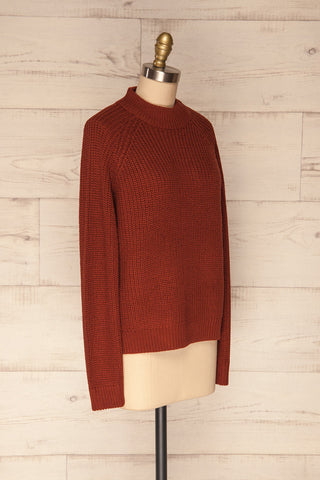 Evora Brick Red Boxy Knit Sweater w/ Slits  | SIDE VIEW | La Petite Garçonne