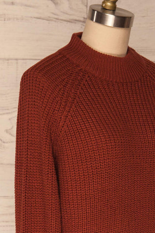 Evora Brick Red Boxy Knit Sweater w/ Slits | SIDE CLOSE UP | La Petite Garçonne