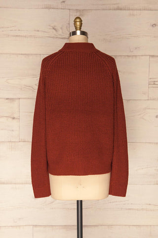 Evora Brick Red Boxy Knit Sweater w/ Slits  | BACK VIEW | La Petite Garçonne