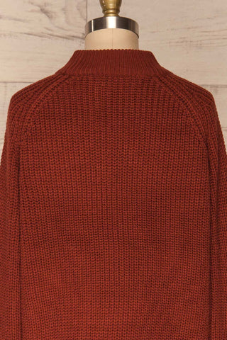Evora Brick Red Boxy Knit Sweater w/ Slits | BACK CLOSE UP  | La Petite Garçonne